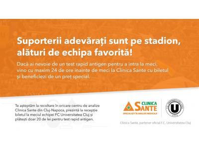 Clinica Sante oferă prețuri speciale  la testele rapide pentru suporterii Universității Cluj